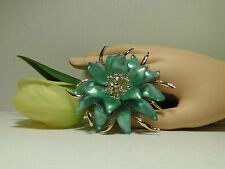 Alexis Bittar Blue Vert D'Eau Lucite & Crystal Large Flower Pin.******NEW******