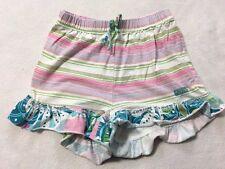 Naartjie Girls 7 Pink Green Aqua Stripe Ruffle Trim Shorts Elastic Waist