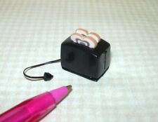 Miniature Glossy Black Metal Toaster w/Cinnamon Bread: DOLLHOUSE Miniatures 1:12