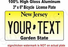 New Jersey Novelty Aluminum State License Plate - PERSONALIZED BICYCLE TAG 3X6