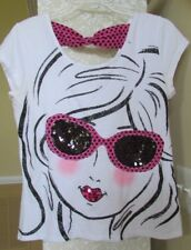 Girls 20 Justice short sleeve white shirt w sequins and shimmers