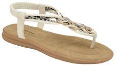 Dunlop Nikita White Slip-On Toe-Post Mules NEW  RRP £28 Size 7