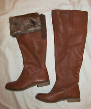 LUCKY BRAND GENERALL TALL over knee fold over fur cuff 3/4 zip boots 7.5