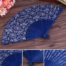 Chinese Summer Folding Hand Fan Fabric Flower Floral Wedding Party Favor NEW