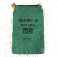 Vintage Georgia Bank FDIC Bank Of College Park Green Canvas Zipper Bankers Bag