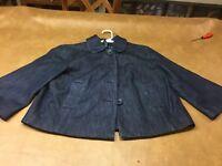 New York And Company Jean Jacket Denim Blazer Dark Wash Womens Size  M