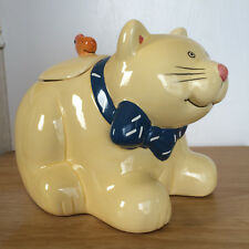 Cat Kitty Cookie Jar Shaped Canister Yellow Fish On Lid Coco Dowley Ceramic