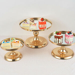 Metal Cake Stand Tray, Round Cupcake Dessert Display Plate, Serve Tray Gold