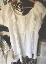 Pepe Jean Robe Blanche Plastron Broderie Anglaise Taille M 2018