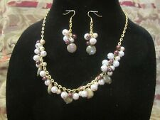 Chain Necklace and Earring Set Moss Agate, Pearls and Gold