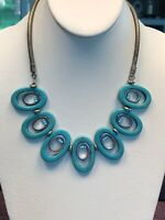 Turquoise Bohemian Stone Beaded Bib Statement Necklace