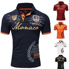 Herren Poloshirt Basic Kontrast Monaco Stickerei Kurzarm Polohemd T-Shirt 5107