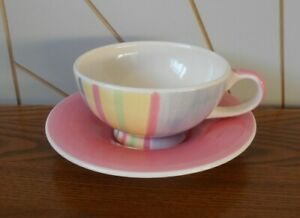 STRIPES/FLOWERS/SPOTS beautiful cup and saucer WHITTARD Candy Ceramics 2003