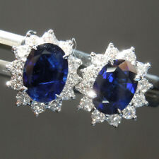 Genuine Natural 2.48 CT Real Blue Sapphire Gemstone Stud 14K White Gold Earring