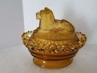 "Vintage Imperial Amber Glass #159 ""Atterbury"" Lion Covered Box/Dish"