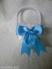 Wedding Party Ceremony ~Turquoise Bow & Ribbons~ White  Satin Flower Girl Basket
