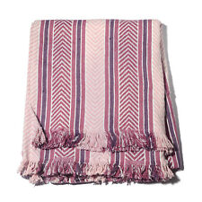 Purple Pink Chevron and Stripes Cotton Fringe Throw (50x60) New in Plastic!  #52
