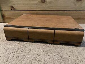 Vintage Faux Wooden 3 Drawer Cassette Tape Holder Storage Cabinet Case Holds 42