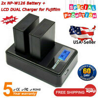 2x NP-W126 Battery + LCD Dual Charger for Fuji X-Pro1 X-E1 X-M1 X-T20 X-E2S USPS