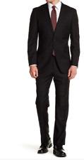 English Laundry Black Woven Two Button Peak Lapel Trim Fit Suit BLACK 46R