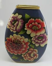 "Vintage Denim Blue Floral Vase with Pink Red  & Purple Zinas 10"" Tall"