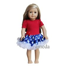 "18"" American Girls Doll Red Blue Star 4th July Tutu Pettiskirt Party Dress"