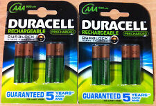 Duracell AAA Rechargeable Batteries 800mAh Pre Charged Hi Power Stays Charged x8