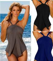 Damen Einteiler Badeanzug Bademode Schwimmanzug Monokini GR.34-50 Schwarz Blau