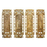 Chinese Set of 4 Rectangular Four Beauties Wooden Wall Plaque Panels cs5063