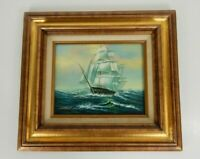 Vintage Wood Framed 8 x 10 Painting on Board Tall Sail/Cutter/Pirate Ship at Sea
