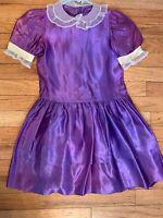 Vintage Girl Dress Sz 6/7 Short Sleeve Purple Silk Holiday Victorian 80s