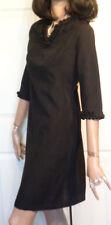 Vintage 60s Black Cotton Ruffled Dress B36 Mod