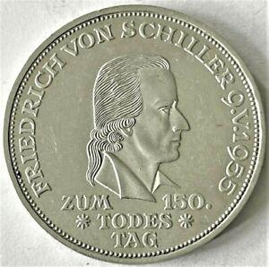 5 Mark Gedenkmünze 1955 an Friedrich von Schiller, Original (S)