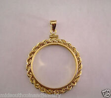 Coin Bezel U.S. HALF DOLLAR Coin 14K Gold Filled Real Rope Mount Soldered Bail