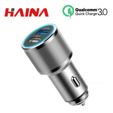 Car Charger Quick Charge 3.0 Dual USB 2 Port Aluminum Phone Fast Charging