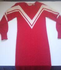 Vintage John Richard Red Dress Knit V Neck Small Padded Shoulders Long