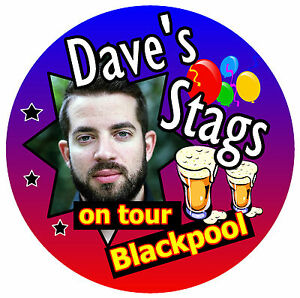 16 X STAG NIGHT ON TOUR PERSONALISED - BIG BADGES WITH PHOTO /PLACE/NAME - NEW