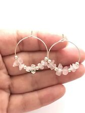Daisylime Silver Plated Hoop Earrings Natural Stone Rose Quartz Beads Hoops