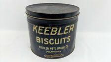 "Vintage Keebler Biscuits Weyl Baking Advertising Tin Can Jumbo 12"" Philadelphia"