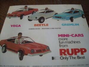1974 RUPP Kids Mini Cars Toy Brochure Go Kart AMC GREMLIN VW Beetle Snowmobile