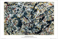 SILVER OVER BLACK - JACKSON POLLOCK ART POSTER 24x36 - 52914