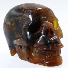 "2.79""Brazil CRYSTAL AGATE Carved Crystal Skull, Realistic,Crystal Healing,N51"