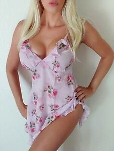 NWOT Sheer Airy Pink Floral Rose Ruffle Slip sleepwear sexy S