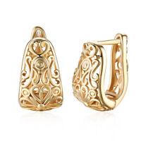 Women 18K Gold Plated Flower Shape Hoop Huggie Earrings Elegant Jewelry Gifts
