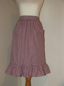 Frilly 'Wine 3mm Gingham' Vintage Style Half / Waist Apron/Pinny