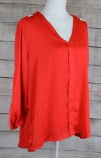 Ellen Tracy Studded Blouse Top Roll-Tab-Sleeve High Low V-Neck Red X-Large XL