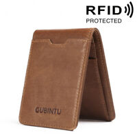 Men 100% Genuine Leather Slim Billfold Wallet RFID Blocking Business Card Holder