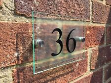 GLASS ACRYLIC MODERN HOUSE SIGN DOOR NUMBER PLAQUE CLEAR ETCHED