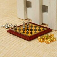 Doll House Miniature Vintage Silver Gold Chess Set Toy Pretend 1/12th Scale W0C5