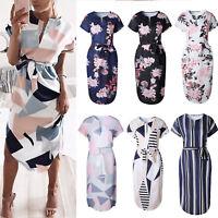 Womens Midi Dress Summer Beach Floral Short Sleeve Holiday Sundress Party V neck